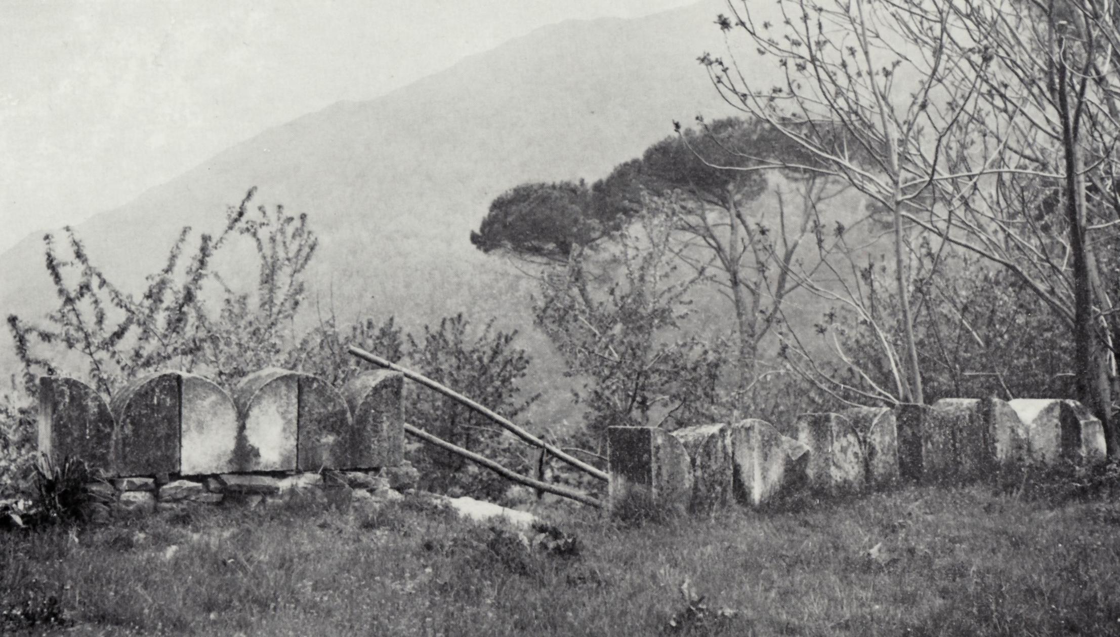 Angolo del parco della Sanguinetana Villa con merli ghibellini in arenaria ridotti e si vede da questa foto all umile ruolo di fungere da